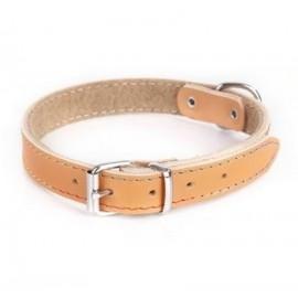 Dingo Obroża skórzana podszyta filcem 2,0x50cm naturalna
